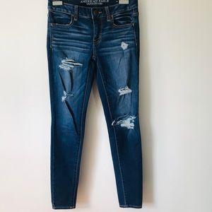 'American Eagle' Dark Wash Ripped Denim Jeans